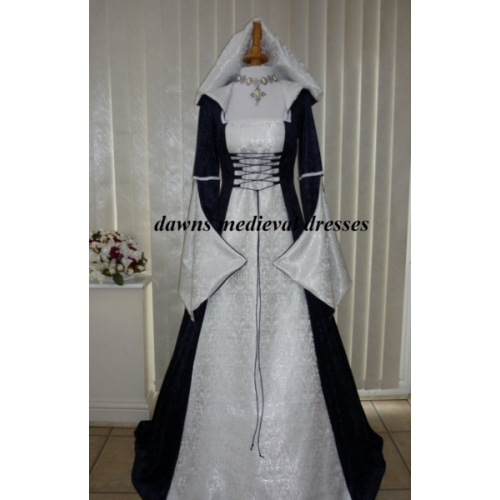 Pagan Medieval Wedding Dress Navy & White